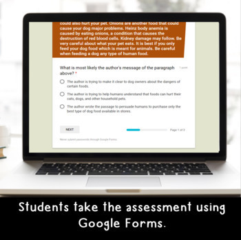 Digital Author's Purpose SELF-GRADING Assessments for Google Classroom