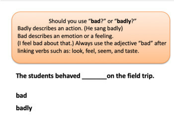 Practice Using Who/Whom, Fewer/Less, Bad/Badly BOOM Cards for Distance Learning