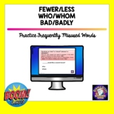 WHO WHOM FEWER LESS BAD BADLY | BOOM Cards | Distance Learning