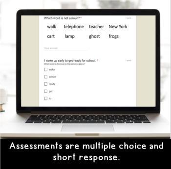 Digital BUNDLE of SELF-GRADING GRAMMAR/READING Assessments for Google Classroom