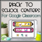Digital Back To School Centers for Google Classroom