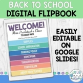 Digital Back To School Flipbook / Meet the Teacher / Digit