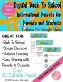 Digital Back To School Information Packets for Parents and Students
