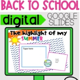 Digital ALL ABOUT ME Back to School 2020 Google Classroom Getting to Know You