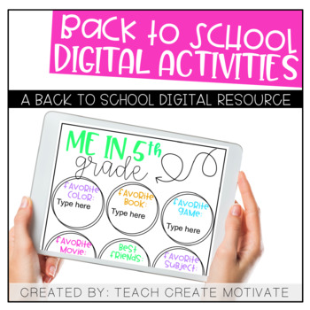 Digital Back to School Activities {5th Grade}