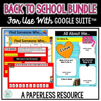 Digital Back to School Activities and Forms Bundle for Google Suite