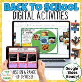Back to School Digital Activities for Google Classroom | A
