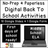 Digital Back to School Activities for Middle School ELA - No-Prep / Paperless