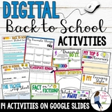 Digital Back to School Activities for the First Week of School