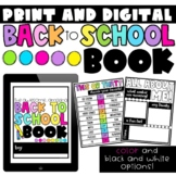 Back to School Book- Digital and Printable