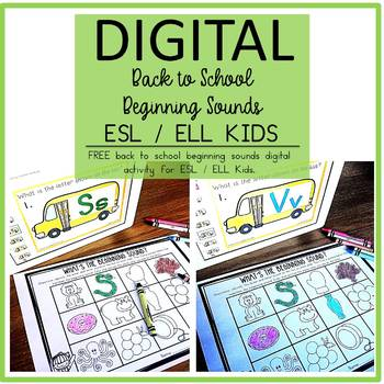 Digital Back to School Free Beginning Sounds Activity ESL / ELL Newcomers