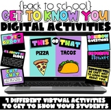 Digital Back to School Get to Know You Activities