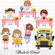 Digital Back to School Girls Clipart, School Girl Clip Art, Back to School Kid
