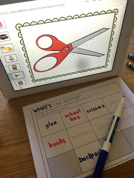 Differentiated ESL Digital Back to School Centers