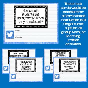 Digital Back to School Twitter Task Cards