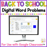 Digital Back to School Word Problems