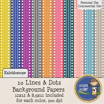 Digital Background Papers - Lines and Dots Kaleidoscope
