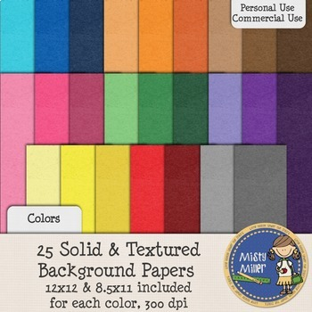 Digital Background Papers - Textured Solids Colors