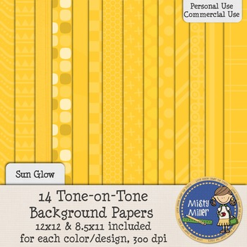Digital Background Papers - Tone-on-Tone Sun Glow