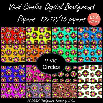 Circles Digital Papers Set Bright Colours 12x12
