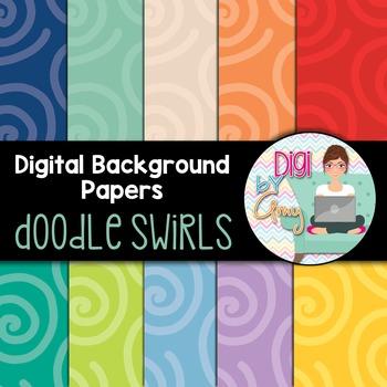 Digital Background clip art - Scrapbook Pack - Doodle Swirls