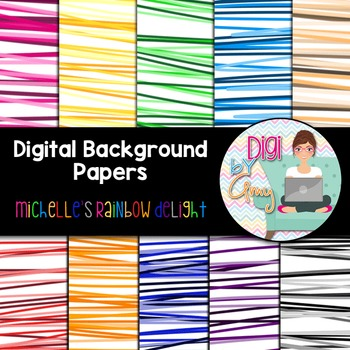 Digital Background clip art - Scrapbook Pack - Michelle's Rainbow Delight