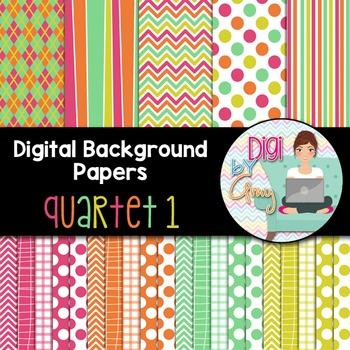 Digital Background clip art - Scrapbook Pack - Quartet 1
