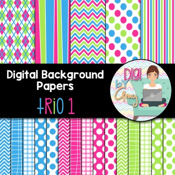 Digital Background - Scrapbook Pack - Trio 1