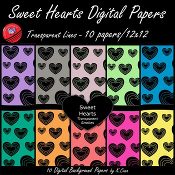 Digital Papers Set Sweet Hearts 2 Bright Colours