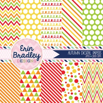 Digital Backgrounds - Autumn Patterned Papers