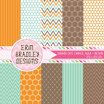 Digital Backgrounds - Orange Brown Aqua Blue Digital Paper Patterns