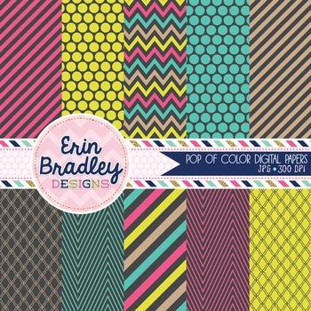 Digital Backgrounds - Pop of Color Digital Paper Pack