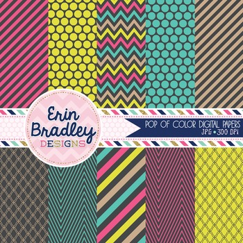 Digital Backgrounds - Pop of Color Digital Paper Pack