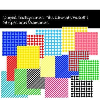 Digital Backgrounds:  The Ultimate Pack #1, Stripes and Diamonds