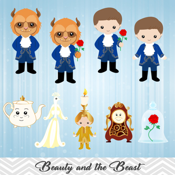 Digital Beauty and the Beast Clip Art, Beauty Beast Clipart, Princess Belle