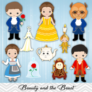 Digital Beauty and the Beast Clip Art, Beauty Beast Clipart, Princess Belle