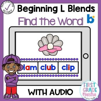 Digital Beginning L Blends Find the Word Boom Cards