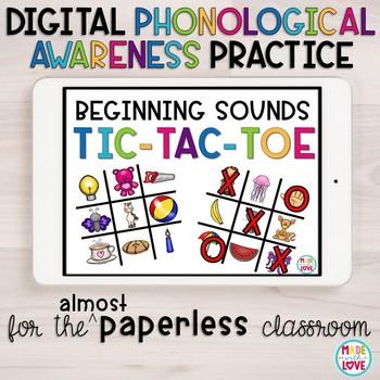 Digital Beginning, Middle, Ending Sound Tic-Tac-Toe