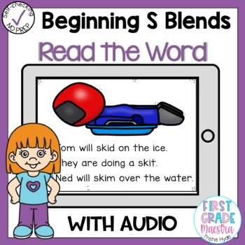 Digital Beginning S Blends Read the Word Boom Cards