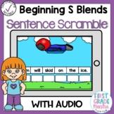 Boom Cards Beginning S Blends Sentence Scrambles
