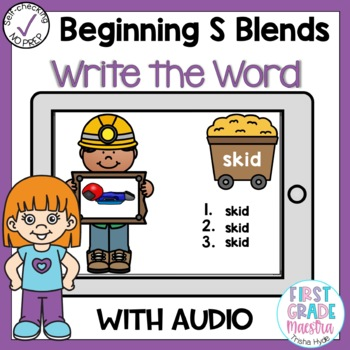 Digital Beginning S Blends Write the Word Boom Cards