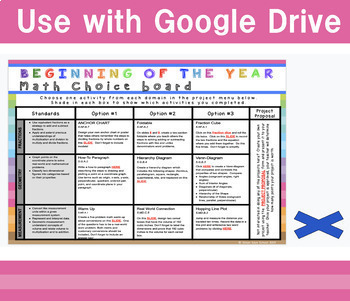 Digital Beginning of the Year Math Review Choice Board – 6thGrade - EDITABLE