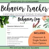 Digital Behavior Log | Google Forms Single Student + Class