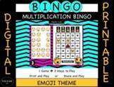 Digital and Printable Multiplication Bingo- Emoji Themed