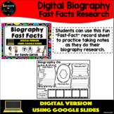 Digital Biography Fast Facts - Google Classroom Distance Learning