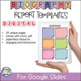 Digital Biography Templates for Google Slides - Distance Learning