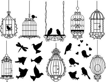 Digital Bird Cage Clip Art Bird Cage Silhouette Bird Silho