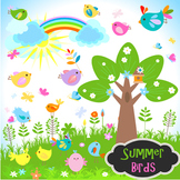 Bird Clip Art Summer Garden Bird Flower Tree Birdhouse - Colored and  Outlines