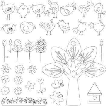 Bird Clip Art Summer Garden Bird Flower Tree Birdhouse - Colored and  Outlines