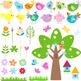 Bird Clip Art Summer Garden Bird Flower Tree Birdhouse - C